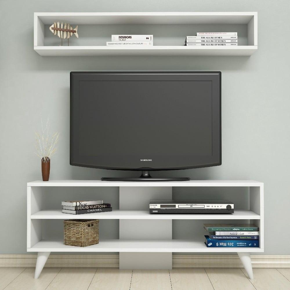 Biała Szafka Pod Tv I Półka ścienna Boom Bonami