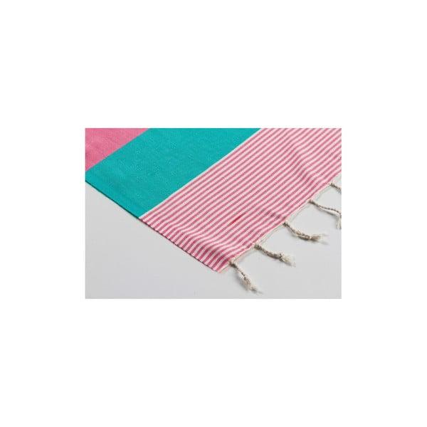 Ręcznik hamam  Amerikan Green Pink, 100x180 cm