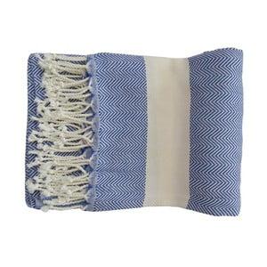 Niebieski ręcznie tkany ręcznik z bawełny premium Lidya,100x180 cm