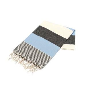 Niebieski ręcznik Hammam Amerikan, 100x180cm