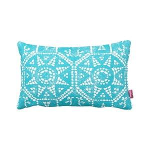 Turkusowo-biała   poduszka Blue Sun, 35x60cm