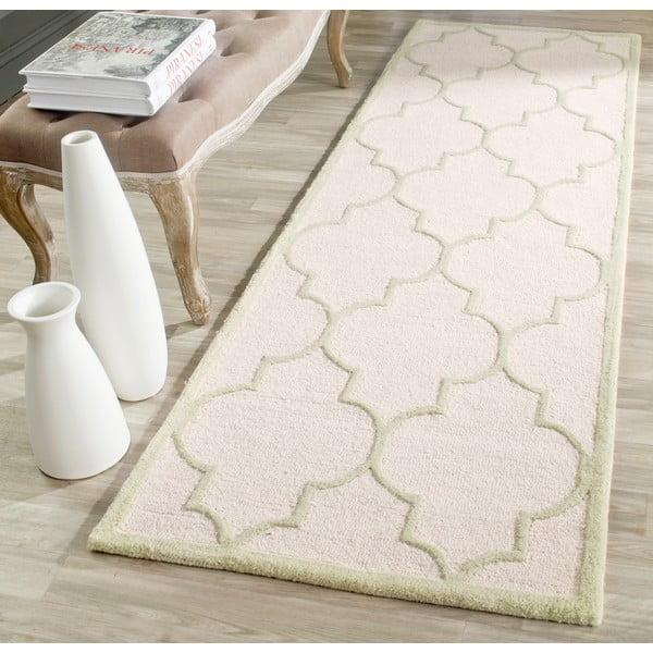 Wełniany dywan Everly Cream, 76x243 cm
