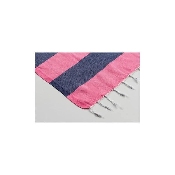 Ręcznik hamam Myra Pink Dark Blue, 100x180 cm