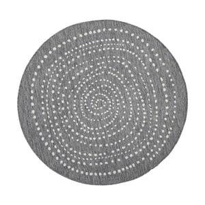 Szary okrągły dywan dwustronny odpowiedni na zewnątrz Bougari Bougari Bali, Ø 140 cm