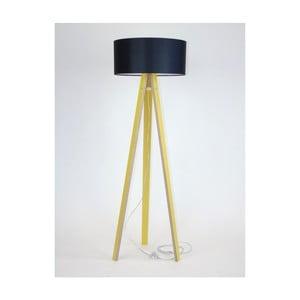 Żółta lampa stojąca z czarnym abażurem i prezroczystym kablem Ragaba Wanda