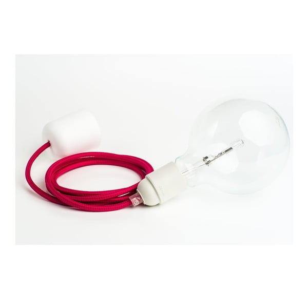 Kolorowy kabel Loft z żarówką, malina