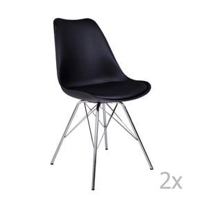 Zestaw 2 czarnych krzeseł House Nordic Oslo Chrome