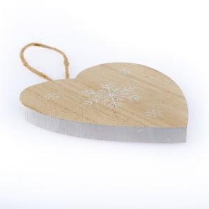 Drewniane serce wiszące Dakls Snowflake, 11 cm