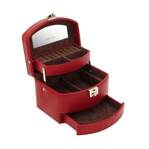 Czerwona szkatułka na biżuterię Friedrich Lederwaren Cordoba, 16x13 cm