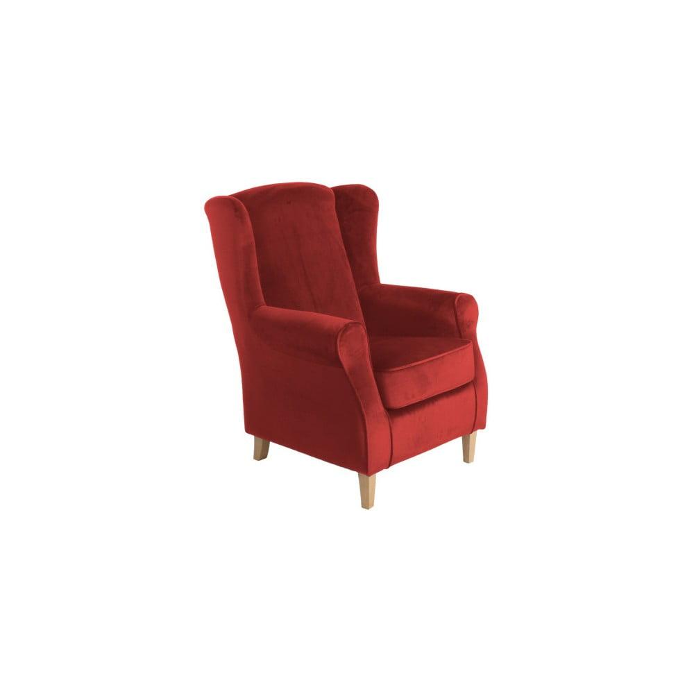 Ceglasty fotel uszak Max Winzer Lorris Velour Brick