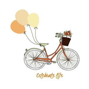 Plakat w drewnianej ramie Retro bike, 38x28 cm