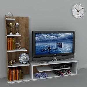 Stolik telewizyjny z regałem Sleek White/Walnut, 29,5x160x121,8 cm