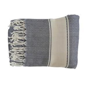 Granatowy ręcznie tkany ręcznik z bawełny premium Elmas,100x180 cm