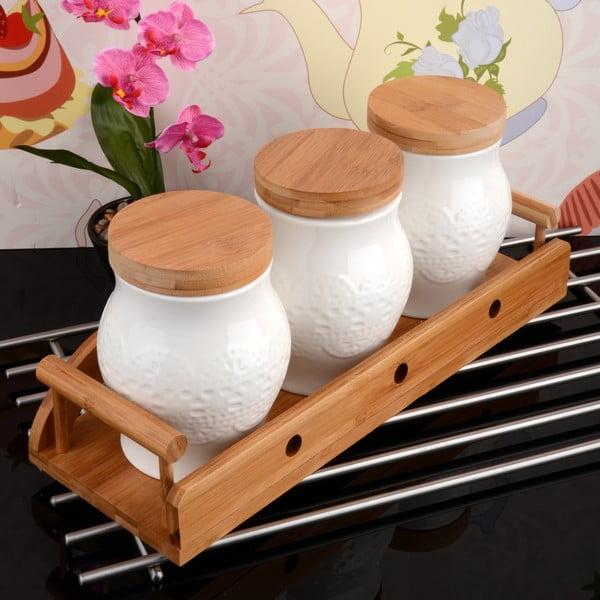 Bambusowy stojak z 3 pojemnikami Bamboo