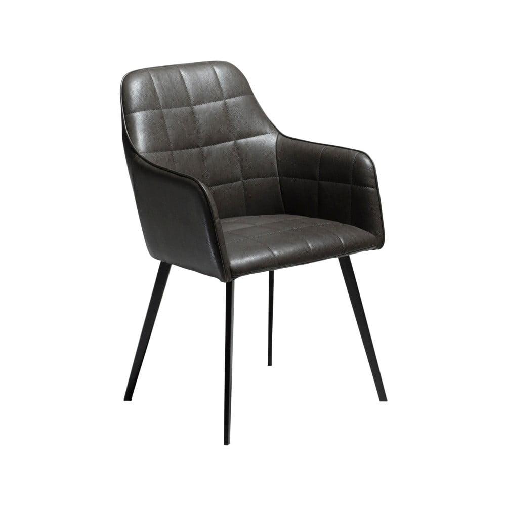Ciemnoszare krzesło ze skóry ekologicznej DAN-FORM Denmark Embrace Vintage