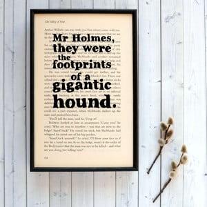 Plakat   w drewnianej ramie Sherlock Holmes gigantic hound