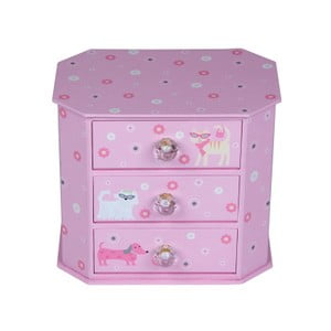 Szkatułka na biżuterię Tri-Coastal Design z trzema szufladkami Pinky