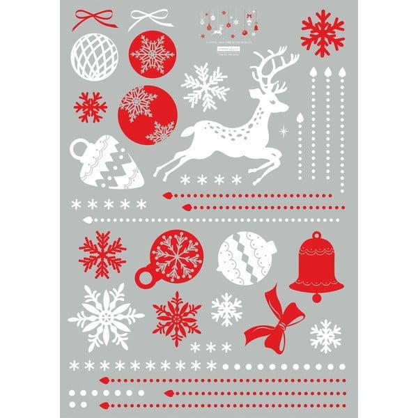 Naklejka świąteczna Ambiance Red and White Snowflakes