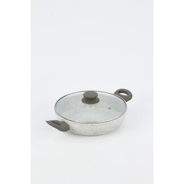 Patelnia z szarymi uchwytami i pokrywką Bisetti, wys. 6,3 cm