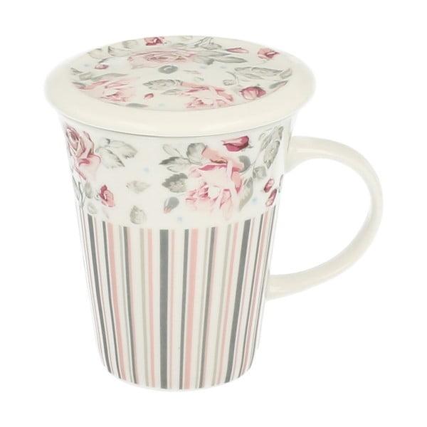 Porcelanowy kubek z sitkiem Róża, 250 ml