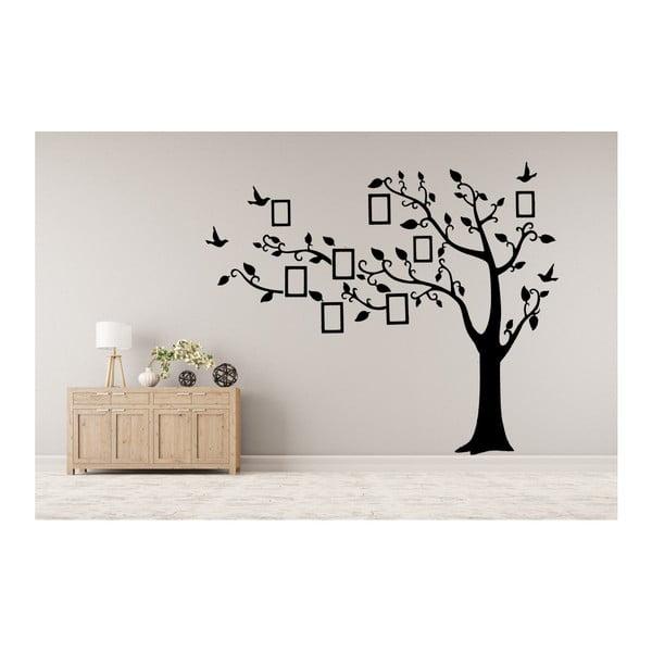 Naklejka dekoracyjna Czarne drzewo z ramkami na zdjęcia, 180x250 cm