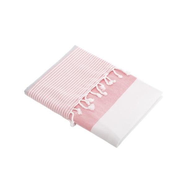Ręcznik turecki Selma Honeysuckle/Glacier Grey, 95x170 cm