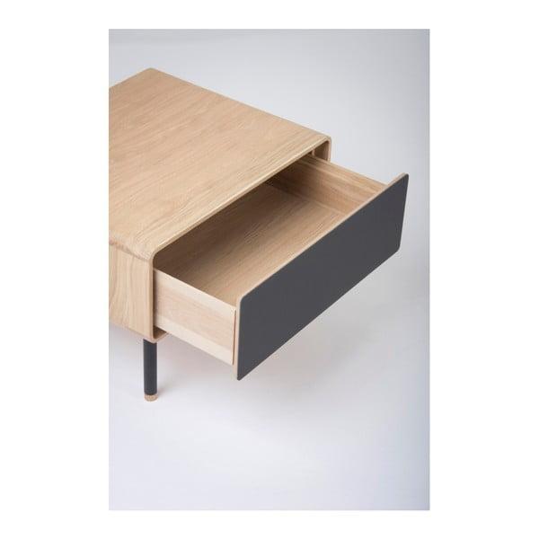 Dębowa szafka nocna z czarną szufladą Gazzda Fina