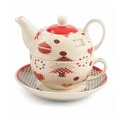 Dzbanek do herbaty z filiżanką i spodkiem z porcelany kostnej Villa d'Este Patchwork Tea For One
