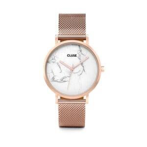 Zegarek ze stali nierdzewnej w kolorze różowego złota z marmurowym cyferblatem Cluse La Roche Mesh