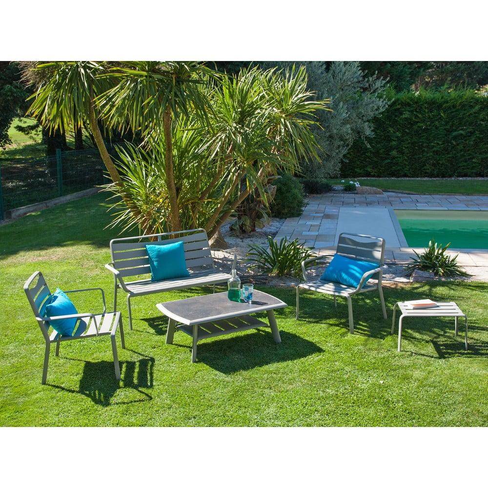 Zestaw szarego stołu ogrodowego, krzeseł, ławki i podnóżka Ezeis Spring Lounge
