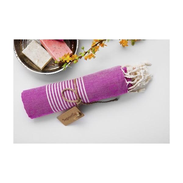 Ręcznik hamam Line Plum, 100x180 cm