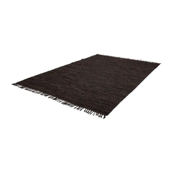 Ciemnobrązowy skórzany dywan Kayoom Rajpur, 70x190 cm