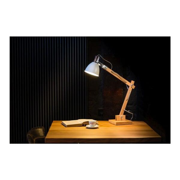 Drewniana lampa stołowa z białym kloszem ETH Craco