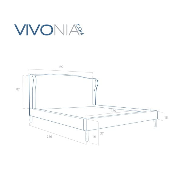 Pastelowo różowe łóżko z naturalnymi nóżkami Vivonita Windsor 180x200 cm