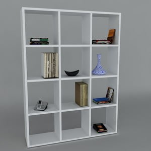 Biblioteczka Ultimate White, 22x93,6x124,2 cm