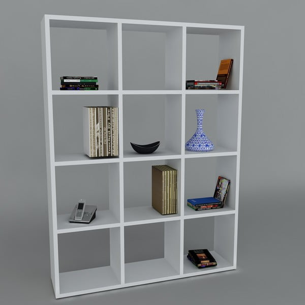 Biblioteczka Ultimate White, 22x93,6x124,2 cm