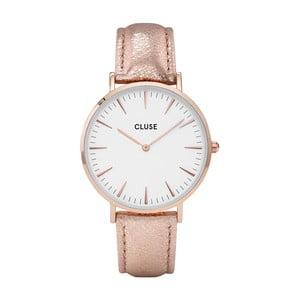 Zegarek damski z różowym skórzanym paskiem i detalami w kolorze różowego złota Cluse La Bohéme