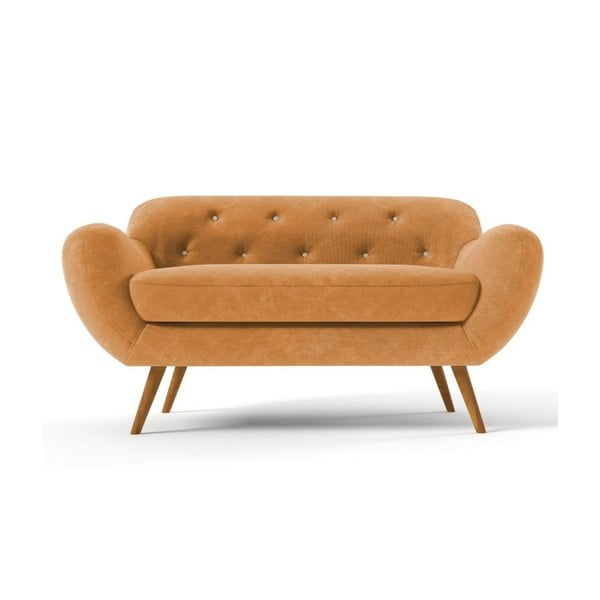 Żółta   sofa dwuosobowa z jasnobeżowymi guzikami Wintech Zefir Sun