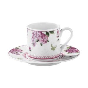 Zestaw 6 filiżanek porcelanowych ze spodkami Kutahya Rose Florals, 50 ml