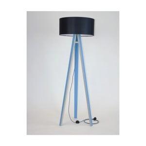 Niebieska lampa stojąca z czarnym abażurem i czarno-białym kablem Ragaba Wanda