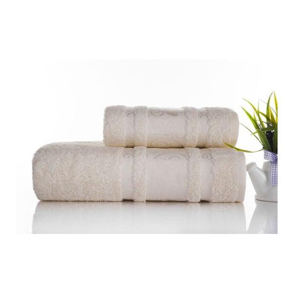 Zestaw 2 ręczników Carmen Ecru, 50x90 i 90x150 cm