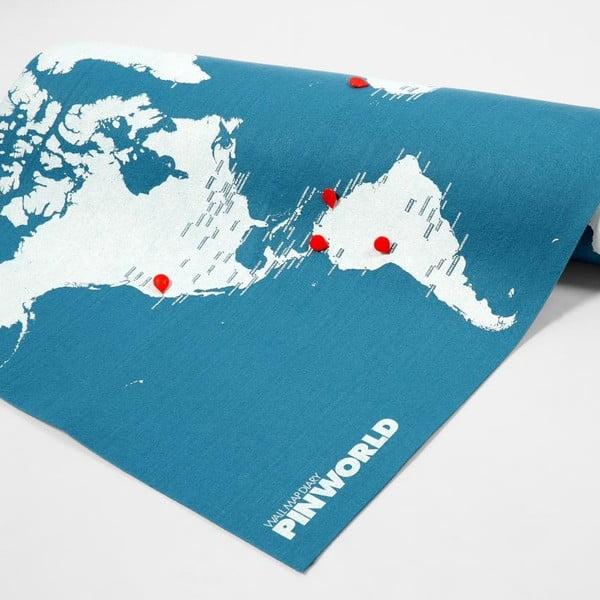 Niebieska ścienna mapa świata Palomar Pin World Mini, 77x48cm
