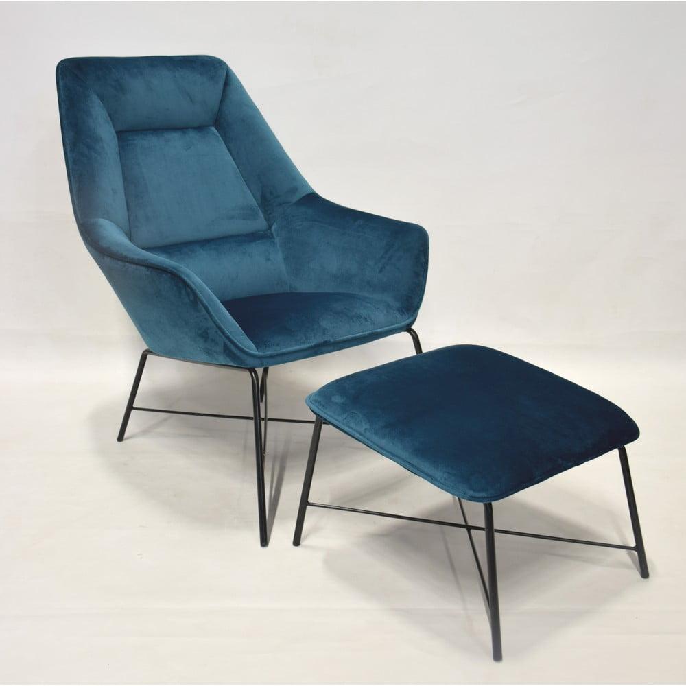Niebieski fotel z podnóżkiem RGE Adele