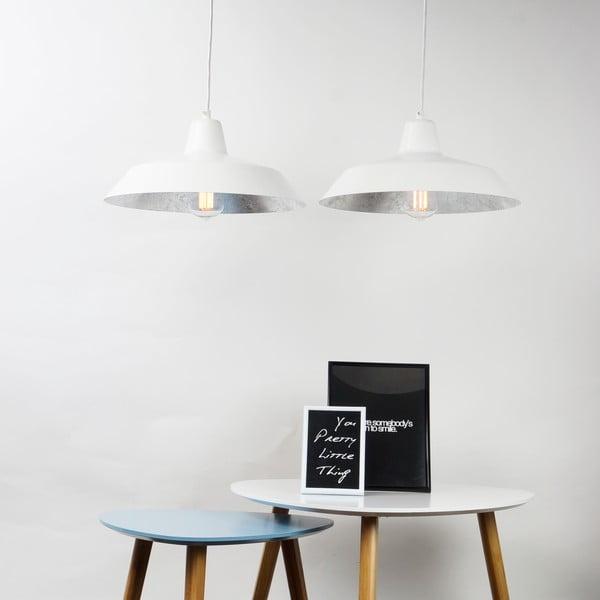 Lampa wisząca z 2 białymi kablami i kloszami w białym oraz srebrnym kolorze Bulb Attack Cinco