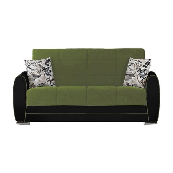 Zielono-czarna dwuosobowa sofa rozkładana ze schowkiem Esidra Rest