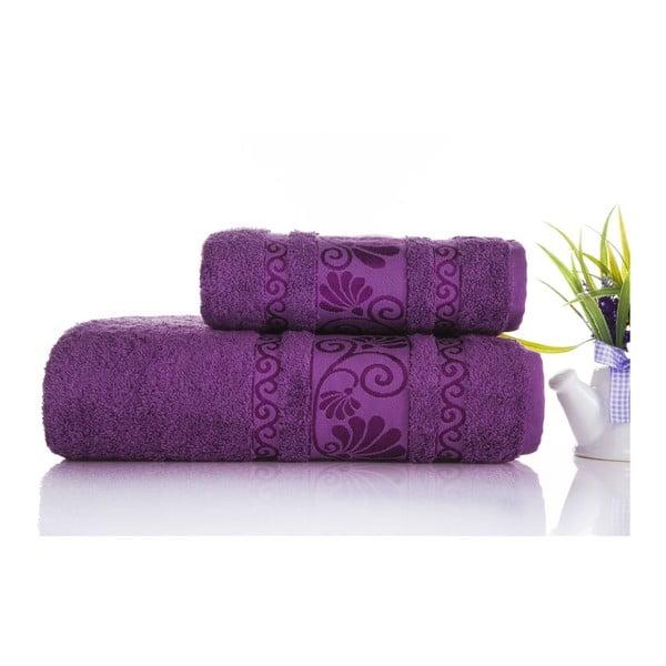 Zestaw 2 ręczników Carmen Purple, 50x90 i 90x150 cm