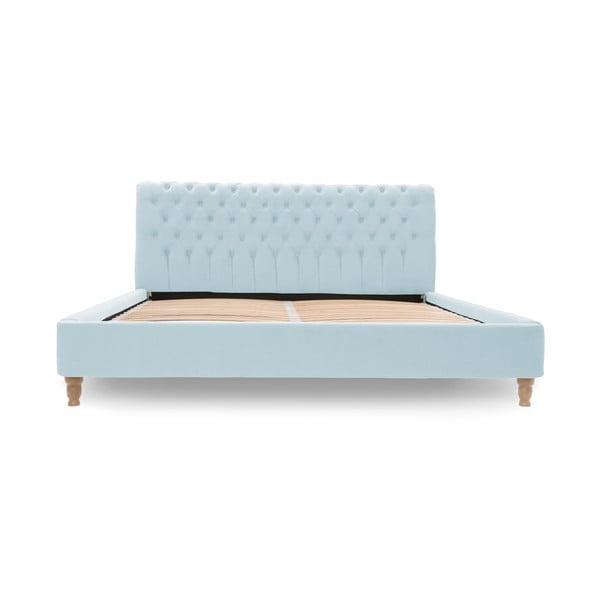 Pastelowoniebieskie łóżko z naturalnymi nóżkami Vivonita Allon, 160x200 cm