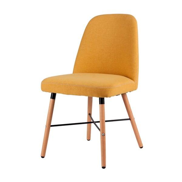 Żółte krzesło do jadalni s konstrukcją z drewna bukowego sømcasa Kalia