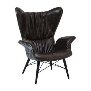 Czarny fotel skórzany Kare Design Wall Street
