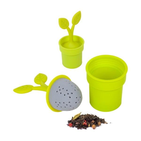 Silikonowe sitko do herbaty Flower Pot, zielone